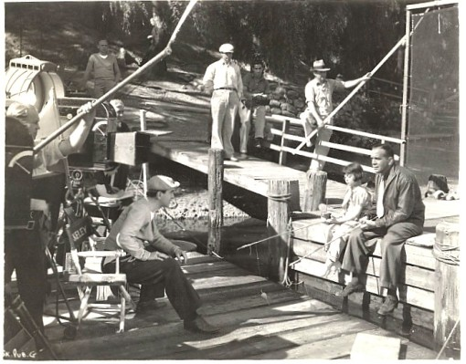 Busby Berkeley directing  a scene with Sybil Jason